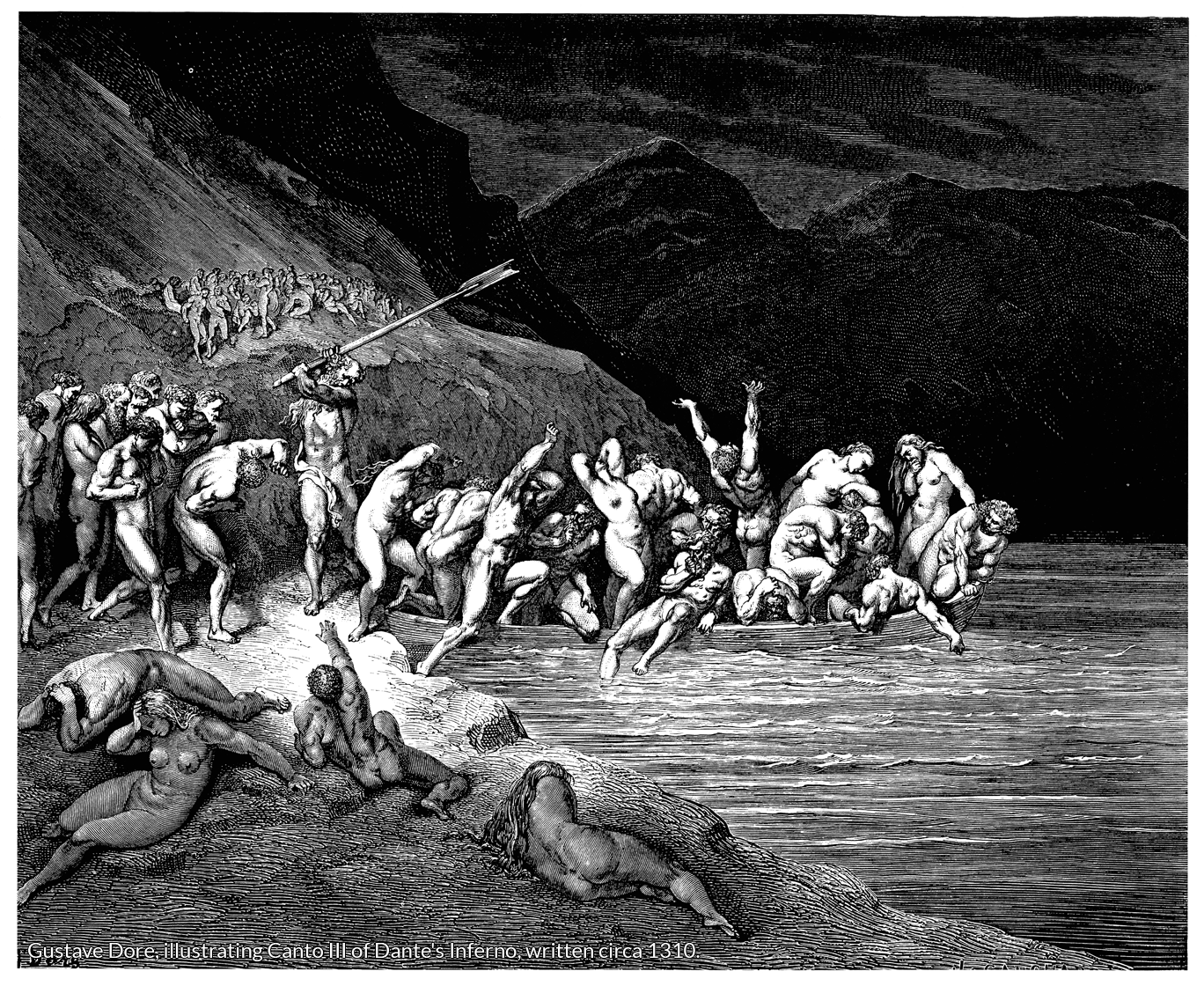 Gustave Dore, illustrating Canto III of Dante's Inferno, written circa 1310.