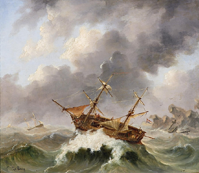 Sailors in the Storm BY Egidius Linnig.