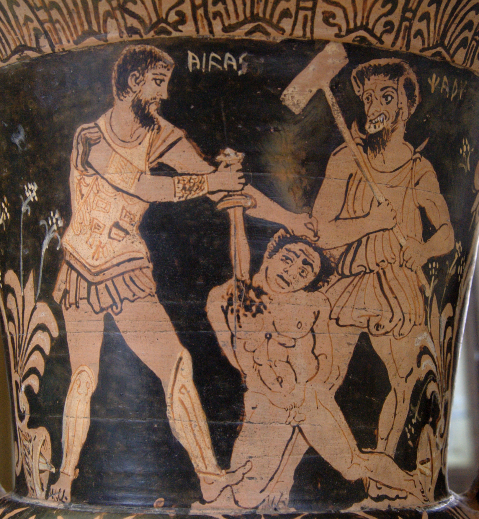 Achilles killing a Trojan prisoner in front of Charun, armed with a hammer (Public domain: Bibi Saint-Pol)