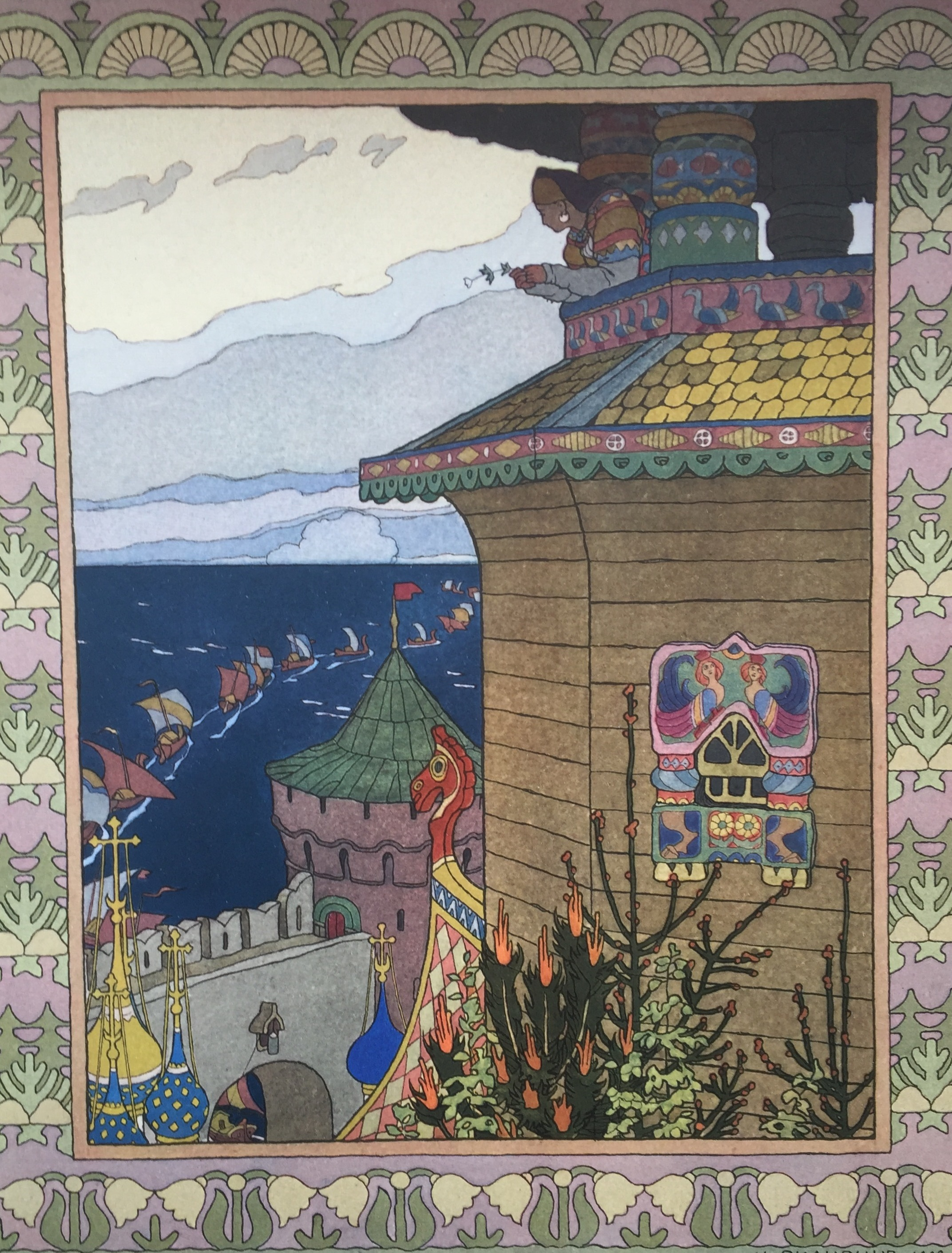 The royal housewife queen watches her husband sail away. From from The Little White Duck, a Russian Fairy Tale by Ivan Bilibin.
