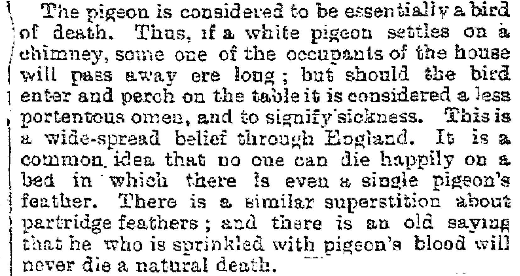 The Folk-Lore of British Birds, The Belfast News-Letter (Belfast, Ireland), Thursday, January 6, 1887; Issue 22318.