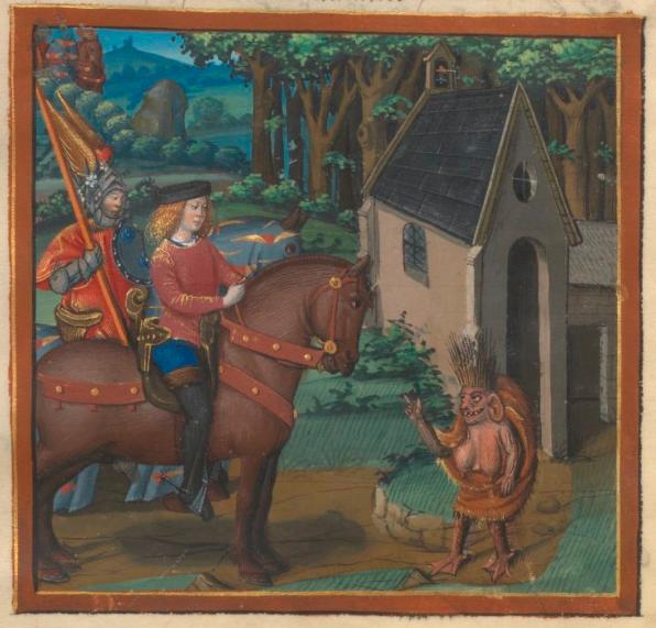 A knight encounters an outlandish dwarf. René d'Anjou, Le livre du Coeur d'amour épris (c. 1460-85), BnF Français 24399, fol. 8v