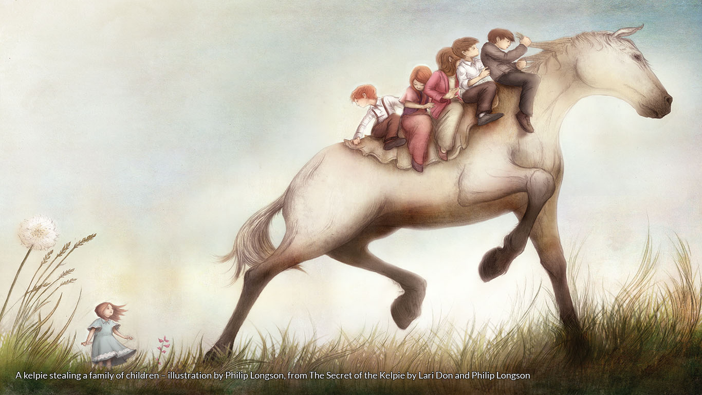 A kelpie stealing a family of children – illustration by Philip Longson, from The Secret of the Kelpie by Lari Don and Philip Longson