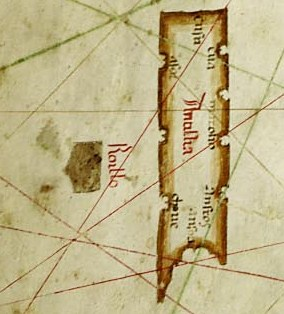 Old Nautical Map of 1489 Depicting Antillia and Roillo