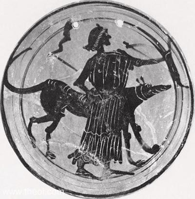 Hekate with torches bow and torches, accompanied by a dog. Attic Black Figure kylix