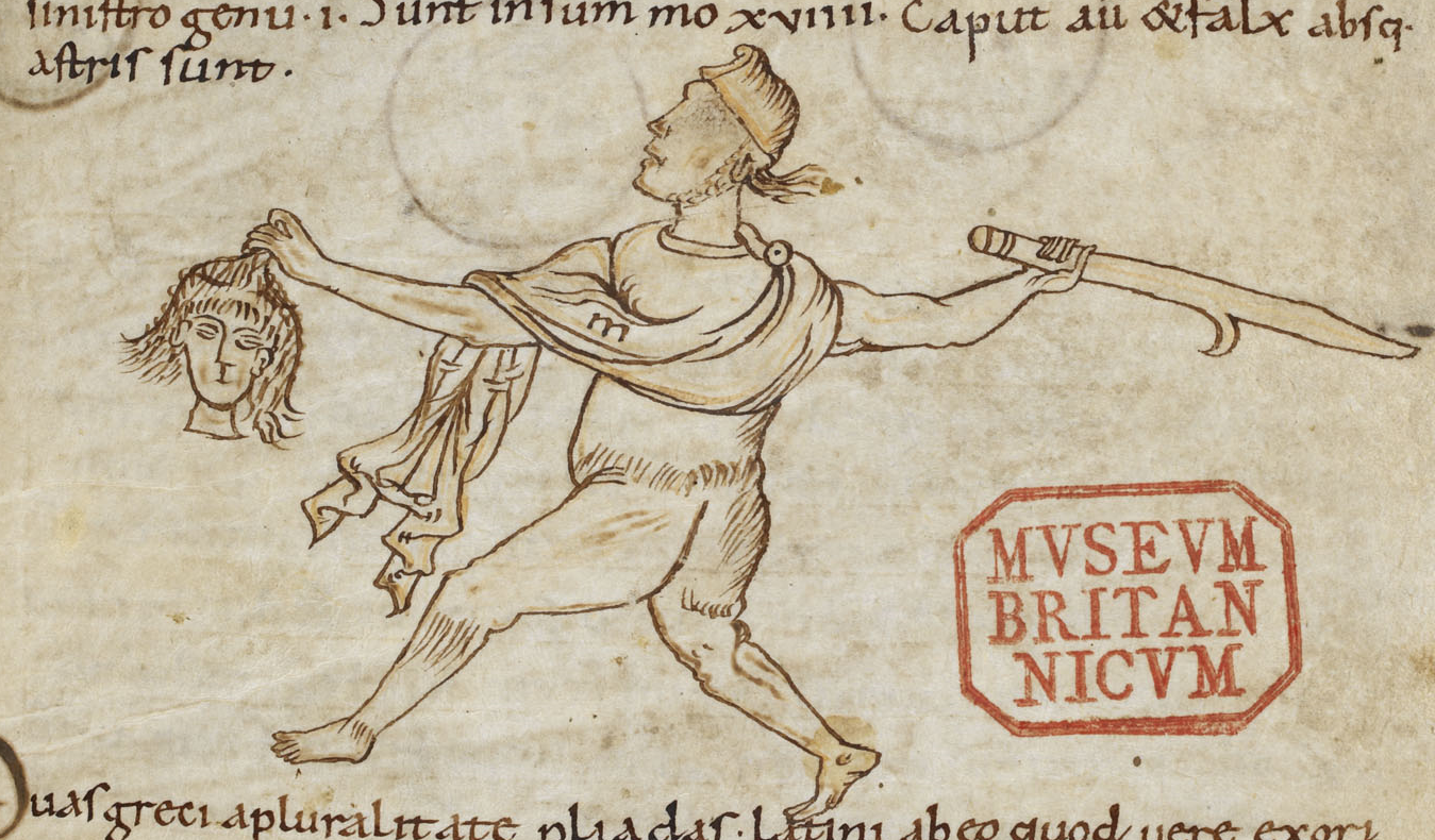 Perseus holding the head of Medusa. BL Harley MS 3595 (c. 900-1050), fol. 49r