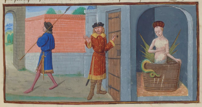 Henno's wife is clearly related to the folkloric tales of Melusine, condemned to be mermaid-like half fish or serpent once a week. Couldrette, Roman de Mélusine (c. 1401-1500), BnF Français 24383, fol. 19r.