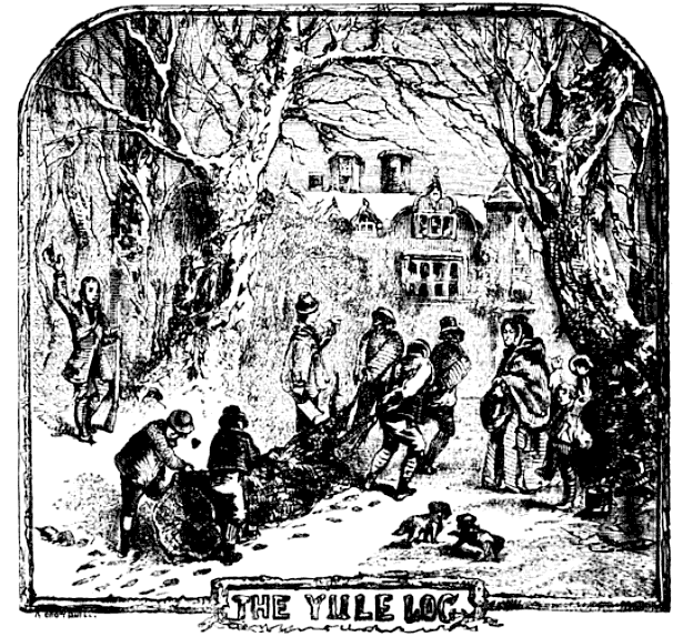 Dragging the Yule Log Home, 1864 https://commons.wikimedia.org/wiki/File:Chambers_Yule_Log.png