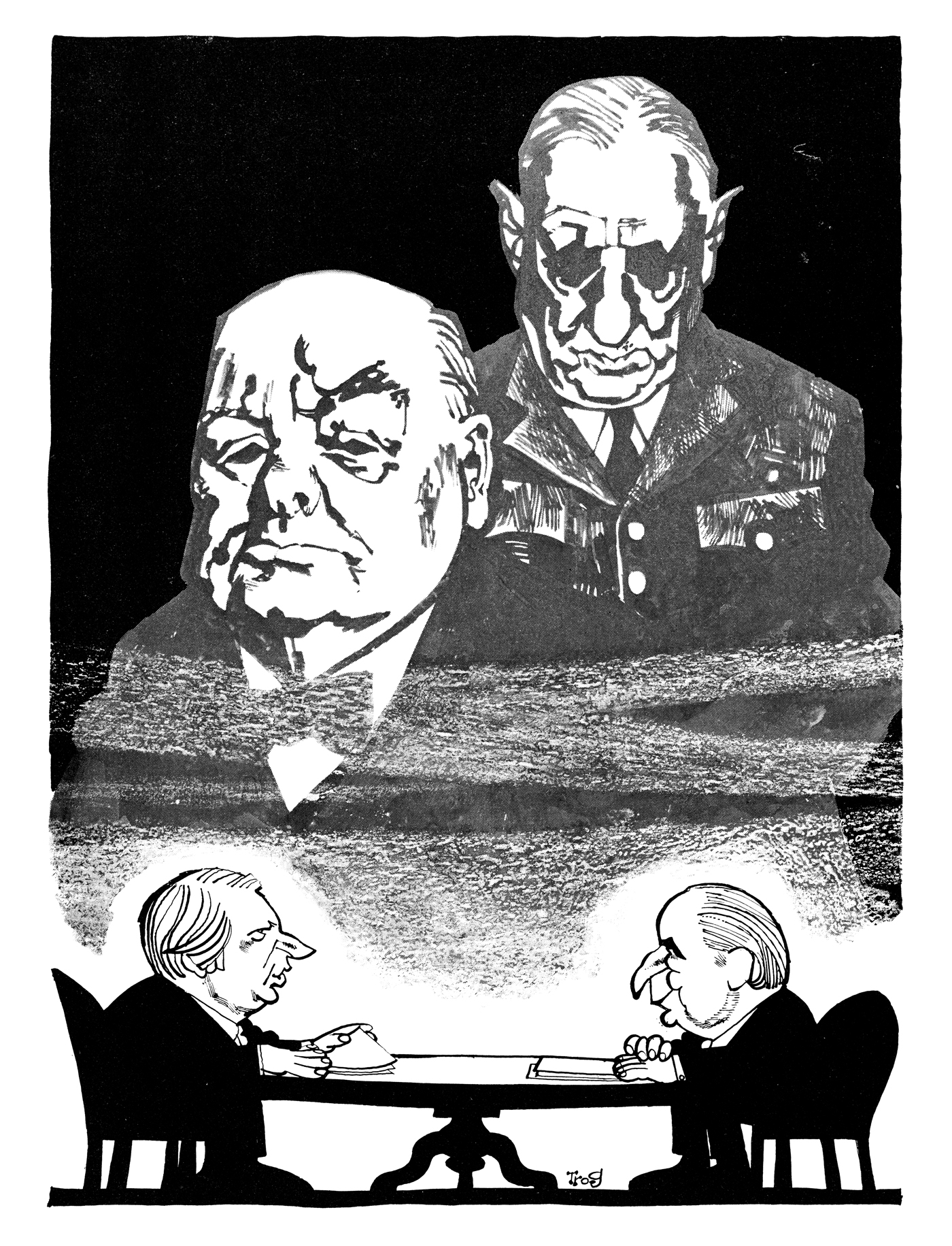 The powerful shades of De Gaulle and Churchill watch over the summit between British prime minister Edward Heath and French leader Georges Pompidou as they negotiate Britain's entry to the European Economic Community. Published 19 May 1971. By Trog (Wally Fawkes)© Punch Ltd