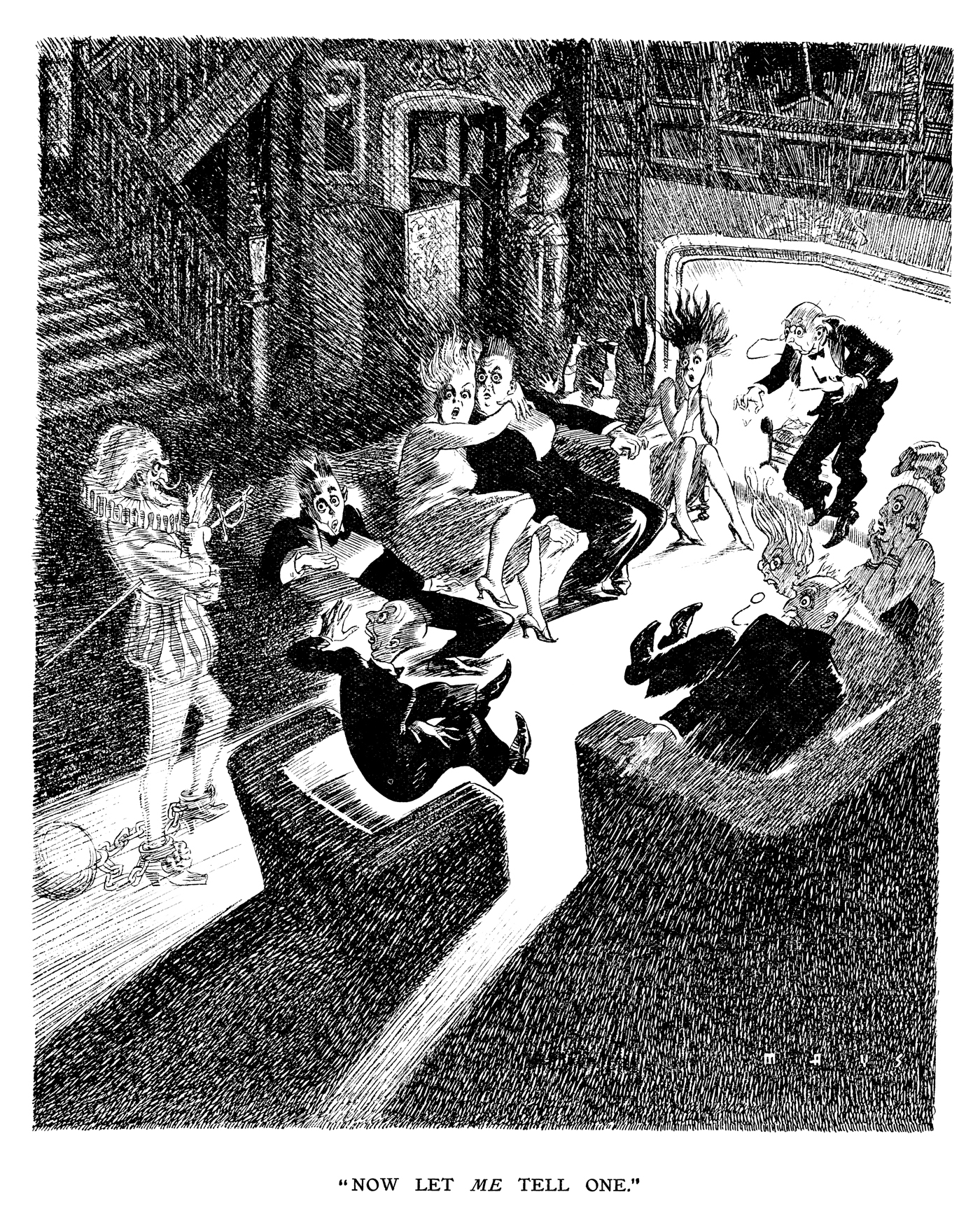 """Now let me tell one."" Punch Almanack 1936. By Douglas Mays © Punch Ltd"