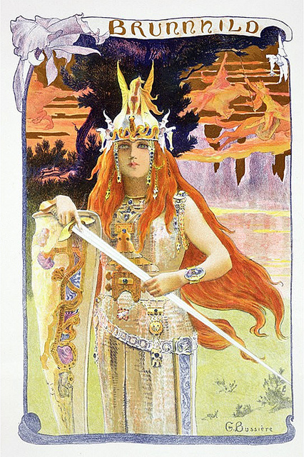 19th Century depiction of Brynhild by Gaston Bussiere https://commons.wikimedia.org/wiki/File:Brunhild_(Postkarte),_G._Bussiere,_1897.jpg