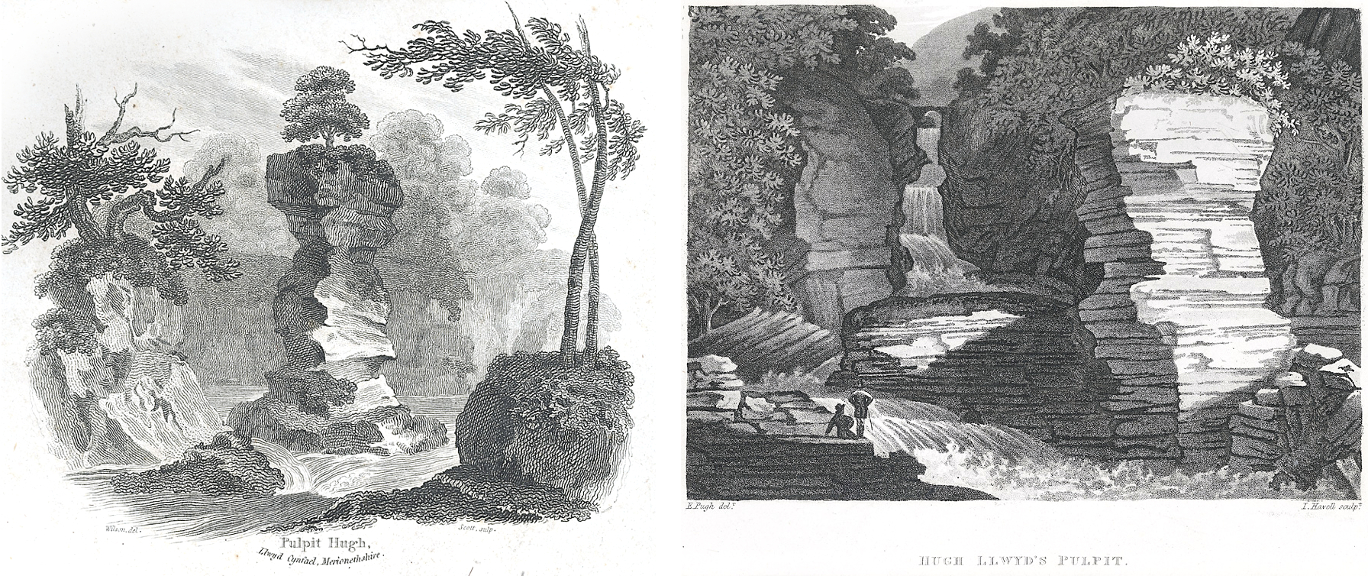 Two somewhat romanticised etchings of Huw Llwyd's Pulpit, by Andrew Wilson, 1812 (left) and Edward Pugh, 1814 (right) © digital scans courtesy of the National Library of Wales (Public Domain images)