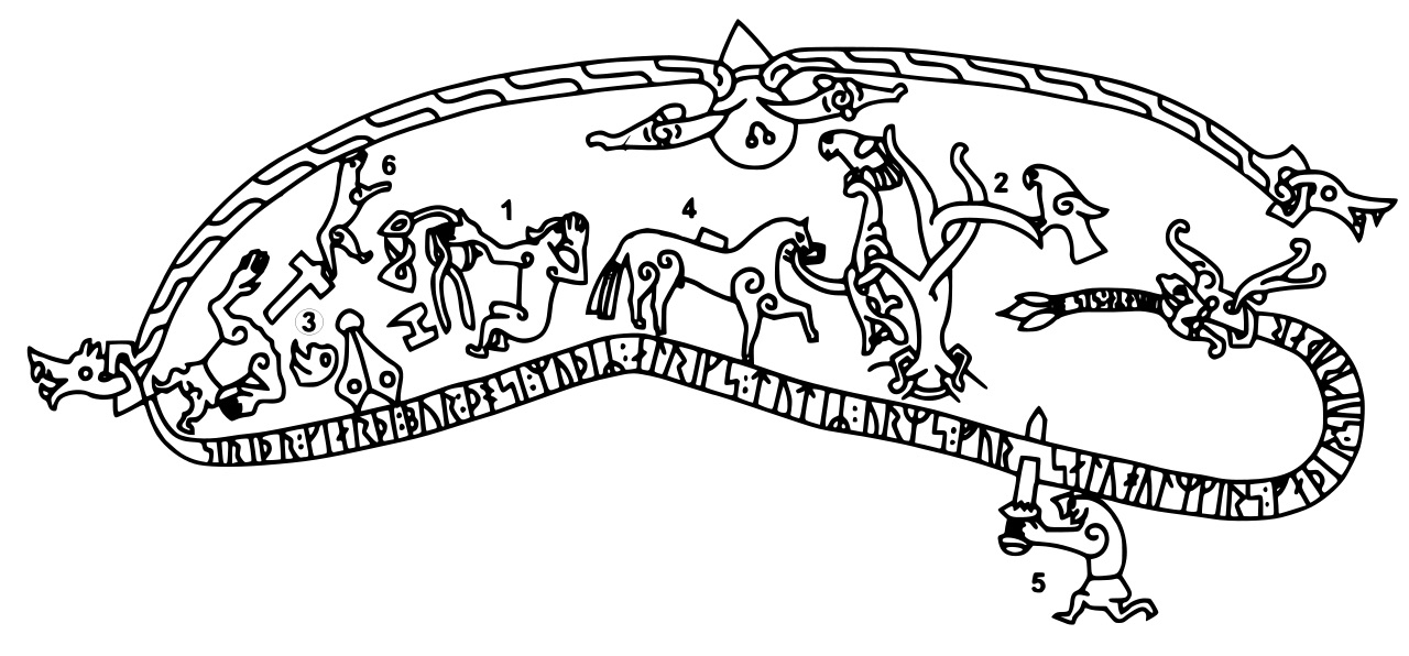 Drawing of The Ramsund carving in Sweden depicting scenes from the first part of the legend. Anonymous 19th Century artist's sketch of Viking Age image painted on rock in Sweden. https://en.wikipedia.org/wiki/Sigurd_stones#/media/File:Sigurd.svg