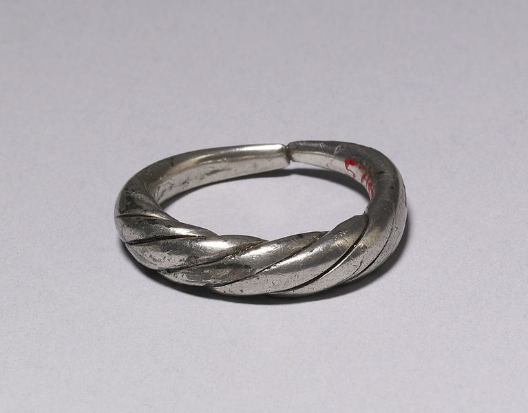 English Viking Age ring, formed from two strands of silver twisted together, 9th century https://commons.wikimedia.org/wiki/File:Viking_-_Ring_-_Walters_571850.jpg