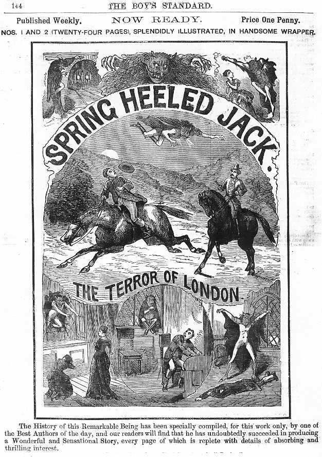 Advert for a Spring-heeled Jack Penny Dreadful (c.1886)