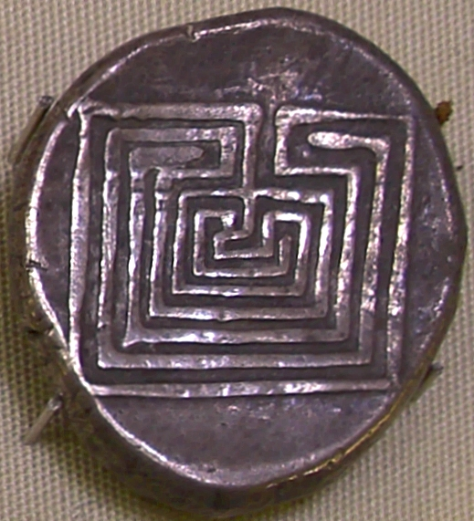 Coin from Knossos, C.400 BC, depicting the labyrinth (Heraklion Archaeological Museum)
