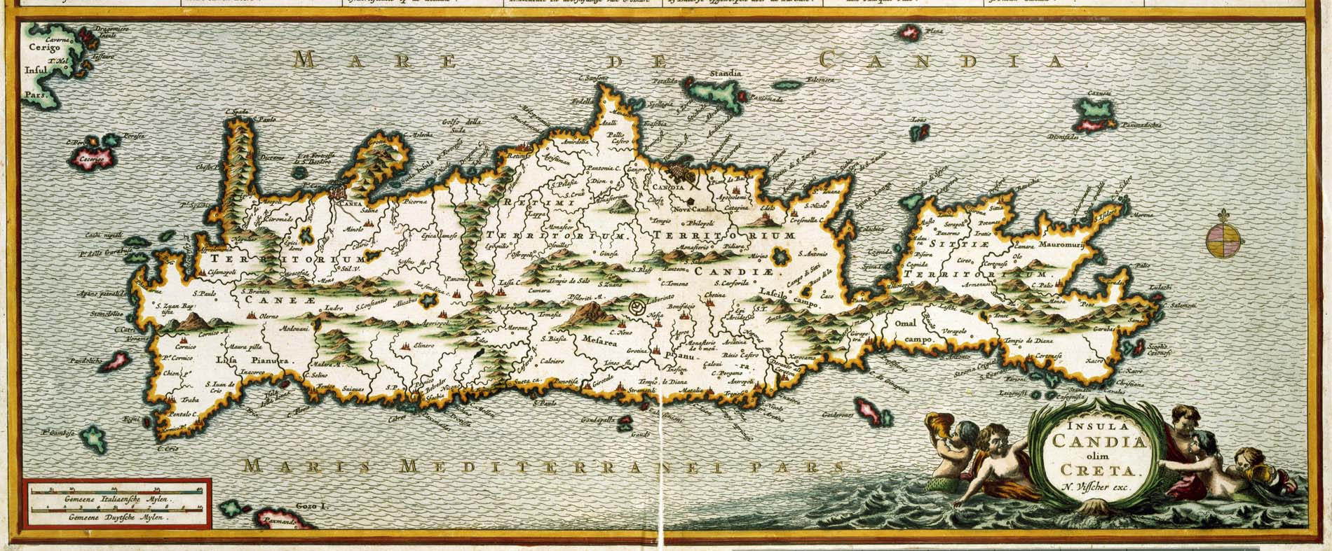 17th century map of Crete, highlighting the labyrinth at Gortyn