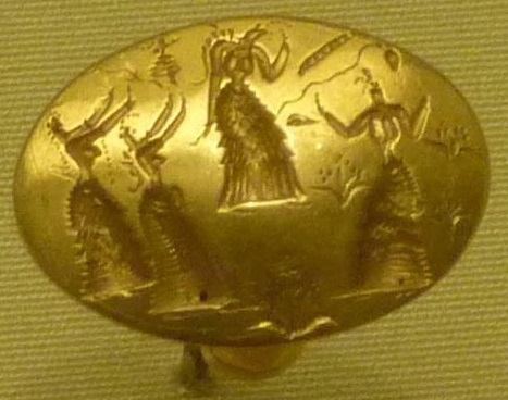 Isopata gold ring. Found in Isopata (Crete), 15th century B.C. https://commons.wikimedia.org/wiki/File:P1010629_crop.png