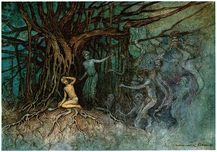 Ghosts tormenting a man who tried to cut the wood of a sacred fig tree in India by Warwick Goble (1912)