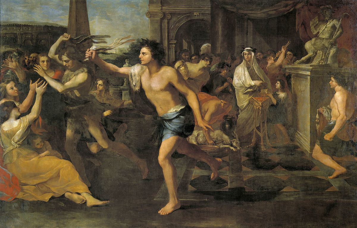 The Lupercalia festival in honour of the She-wolf and Lupercus involved purification of the city. And whipping women. By Andrea Camassei - http://www.museodelprado.es/imagen/alta_resolucion/P00122.jpg, Public Domain, https://commons.wikimedia.org/w/index.php?curid=27337766