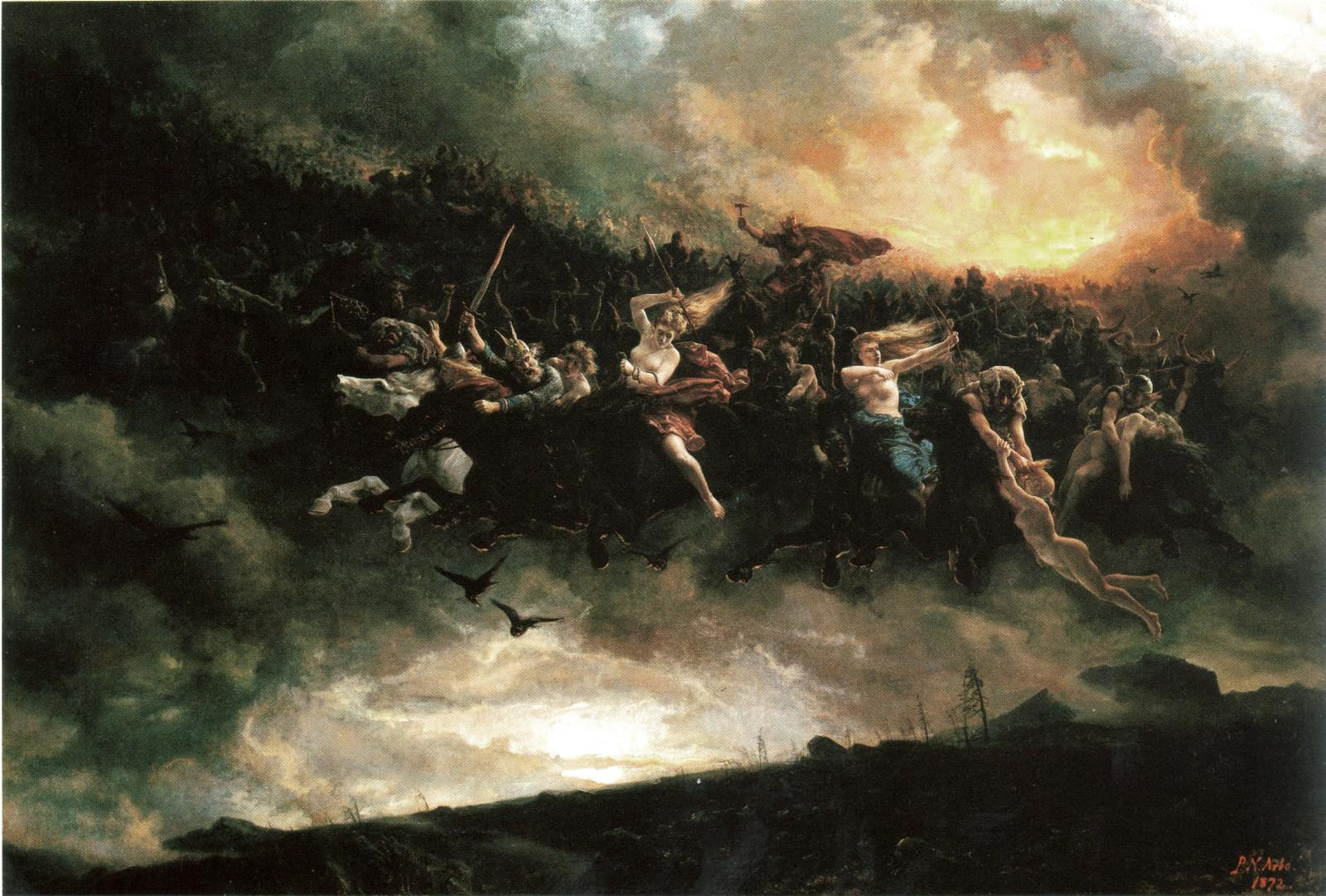 Oil on canvas rendering of the Wild Hunt, currently on display in the National Gallery, Norway © Peter Nicolai Arbo https://commons.wikimedia.org/wiki/File:Aasgaardreien_peter_nicolai_arbo_mindre.jpg