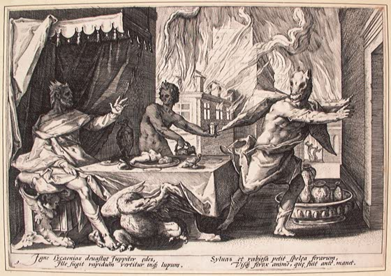 Lycaon is the mythic Greek king who was turned into a wolf — Hendrik Goltzius https://commons.wikimedia.org/wiki/Category:Lycaon#/media/File:Hendrik_Goltzius_-_Lycaon.jpg