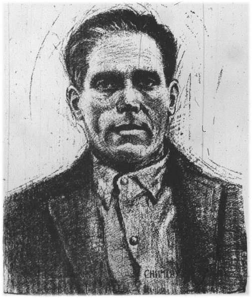 This charcoal drawing of Joe Hill first appeared in the pages of the International Socialist Review and was later reprinted on page 1 of the December 1915, issue of Allarm, a Swedish-language IWW newspaper published in Minneapolis, Minnesota. Page 1 of December 1915 issue of Allarm: http://www.worldcat.org/oclc/24608436