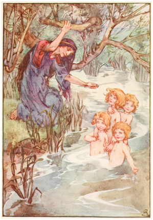 The Children of Lir, Illustration by Helen Stratton in A Book of Myths by Jean Lang, 1915