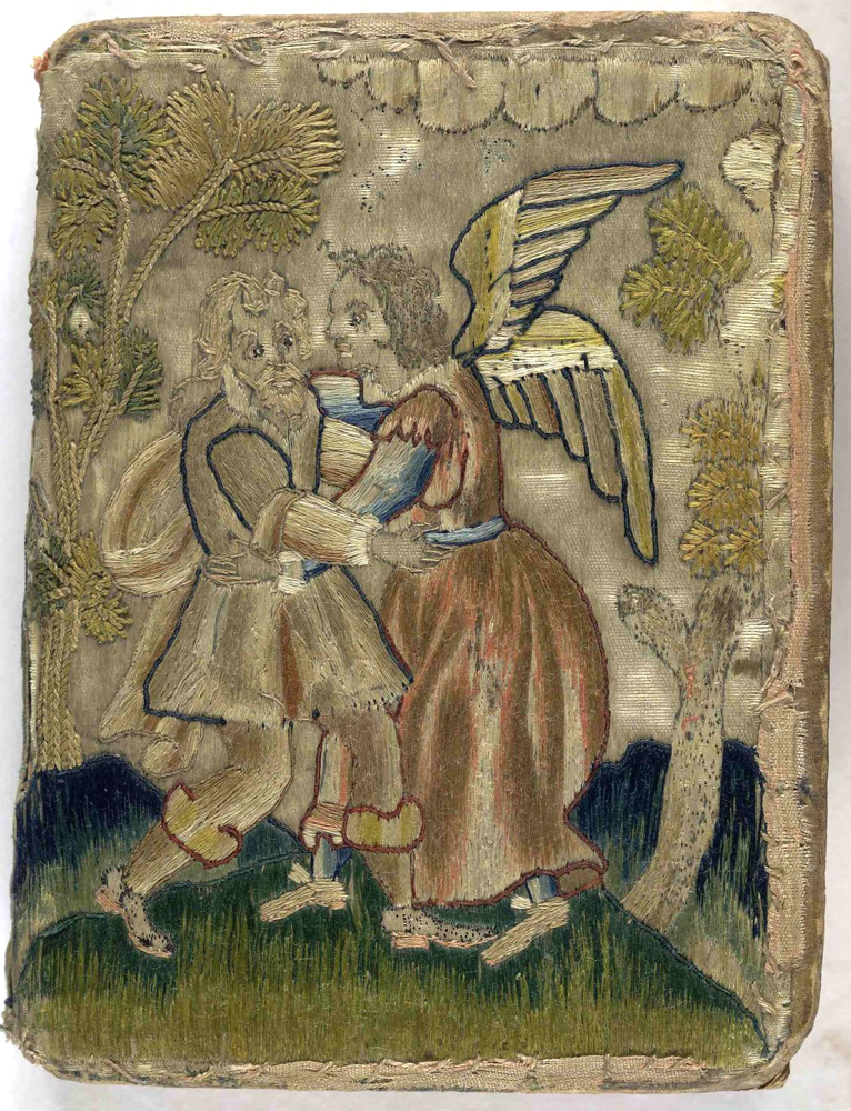 The embroidered cover of this book depicts Jacob wrestling the angel – most beliefs about angels were derived from their appearances in Scripture. The Whole Booke of Davids Psalmes (London, 1634), The British Library. Photo: BL. https://commons.wikimedia.org/wiki/File:17th_century_embroidered_satin_book.jpg