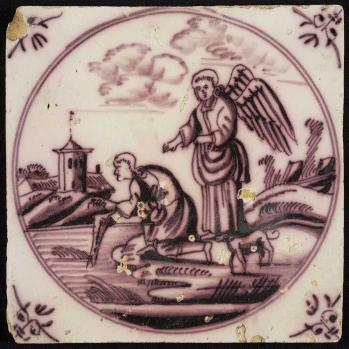 This Dutch tile depicts the archangel Raphael overseeing Tobias as he takes a fish from the river. The angel explains how to make a remedy from the fishes gall. ©Museum Rotterdam. https://commons.wikimedia.org/wiki/File%3A1448-tobias-vis.jpg