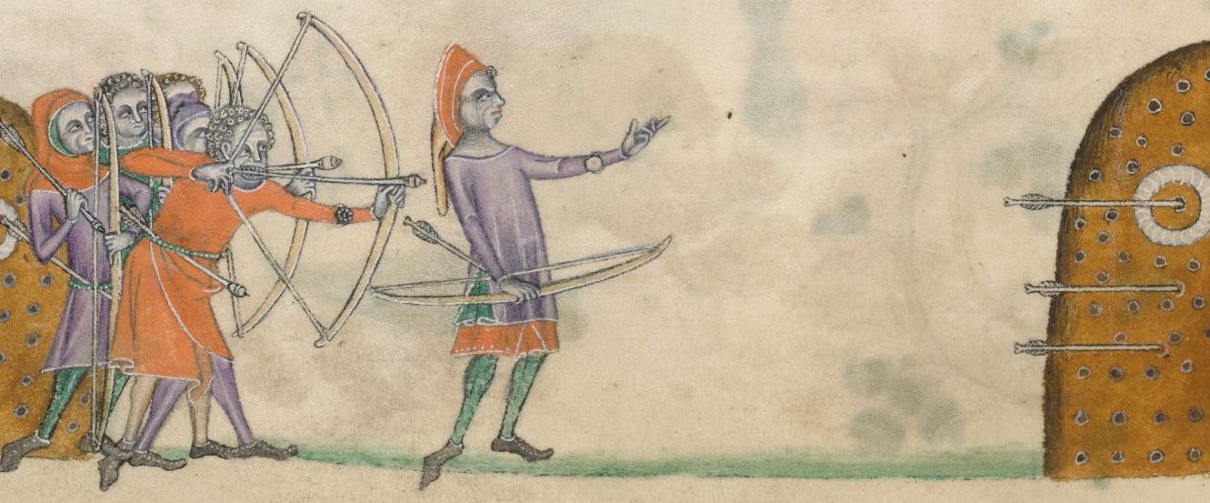 Medieval Archers, c. 1325-1340, British Library, Add MS. 42130, fol. 147v http://www.bl.uk/manuscripts/Viewer.aspx?ref=add_ms_42130_fs001ar