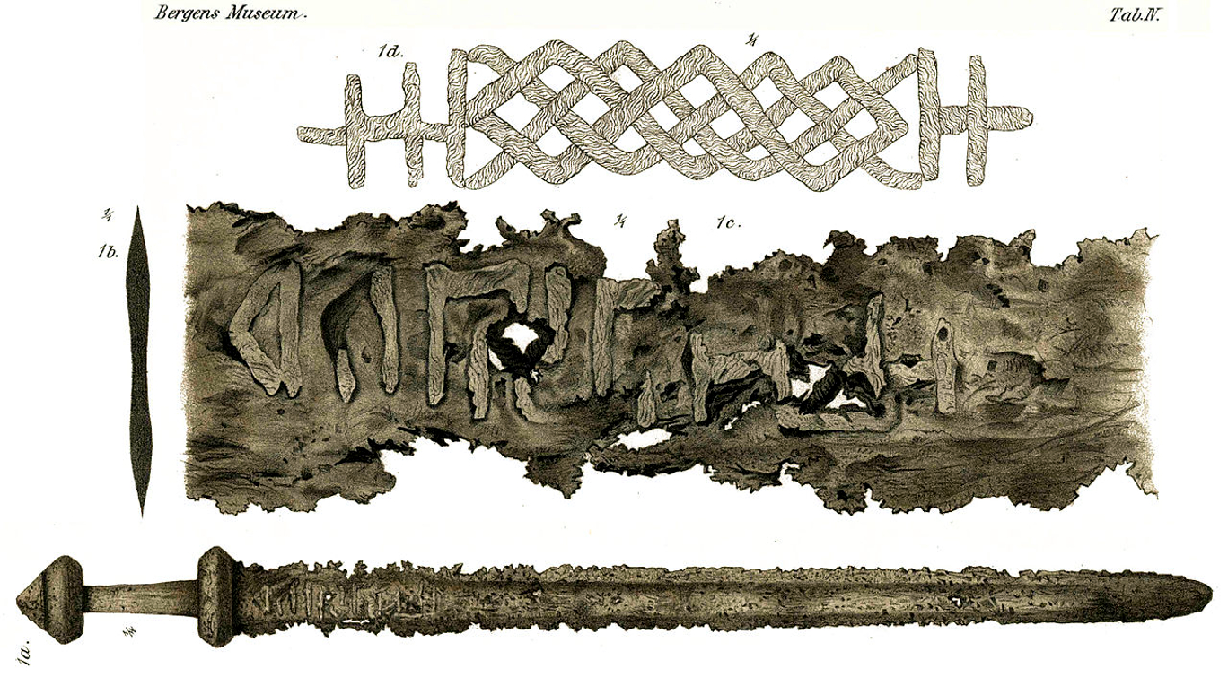 A detailed drawing of a viking age sword from the early 9th century found at Sæbø in the west of Norway. https://commons.wikimedia.org/wiki/File:B1622_Lorange_1889_Tab_IV.jpg
