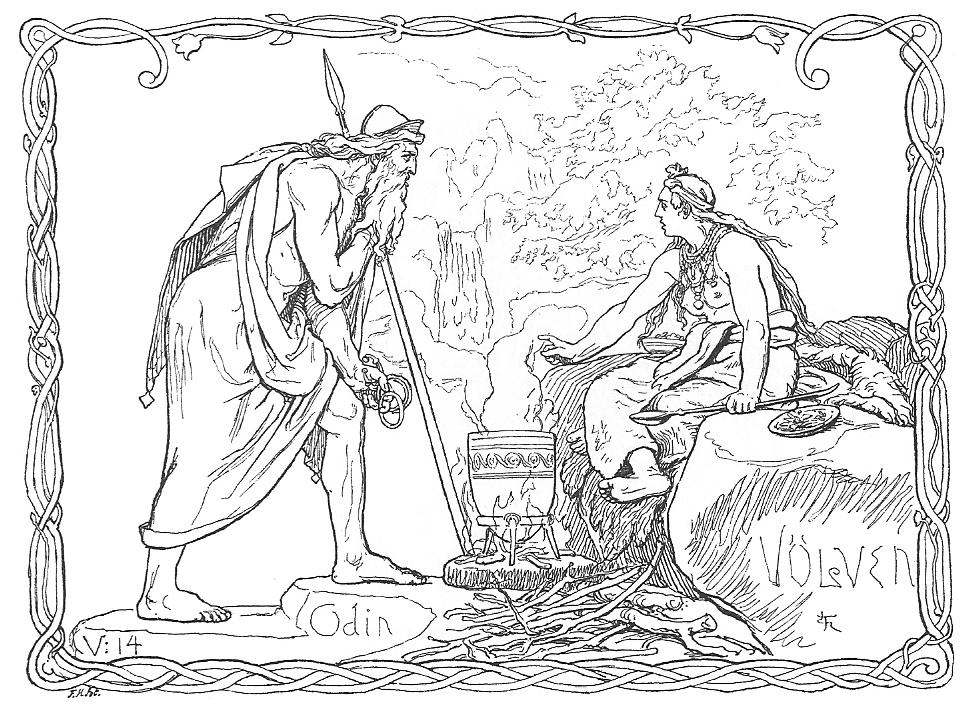 Odin consults a Vǫlva Shaman https://commons.wikimedia.org/wiki/File:Odin_og_V%C3%B6lven_by_Fr%C3%B8lich.jpg