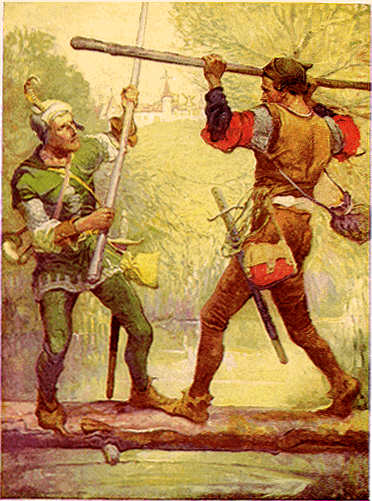 Many scenes we are familiar with, such as Robin Hood duelling with Little John, were popularised by writers like Howard Pyle. © Louis Rhead https://commons.wikimedia.org/wiki/Robin_Hood#/media/File:Robin_Hood_and_Little_John,_by_Louis_Rhead_1912.png