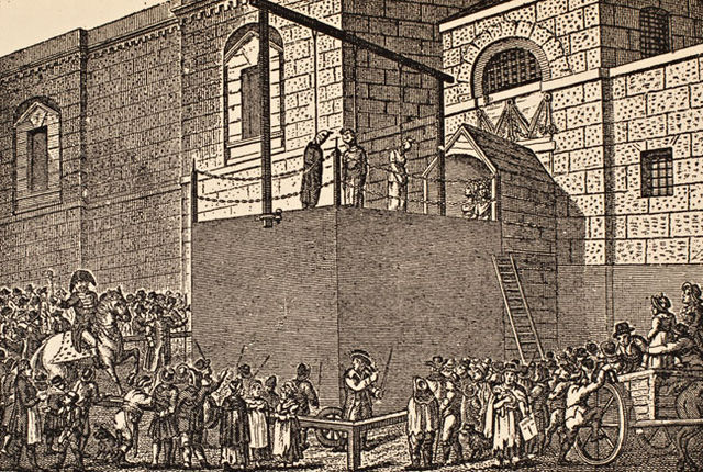 A hanging outside Newgate Prison https://commons.wikimedia.org/wiki/File:Hangin_outside_Newgate_Prison.jpg