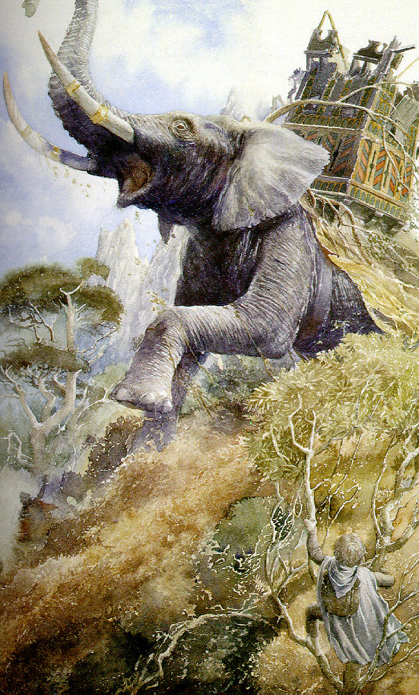 Painting of the Sam looking at the Oliphant - reproduced with permission by Alan Lee