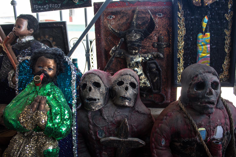 Haitian Vodou trinkets on sale at the Marché en Fer. © Darmon Richter http://www.thebohemianblog.com/2015/04/haitian-vodou-port-au-prince.html