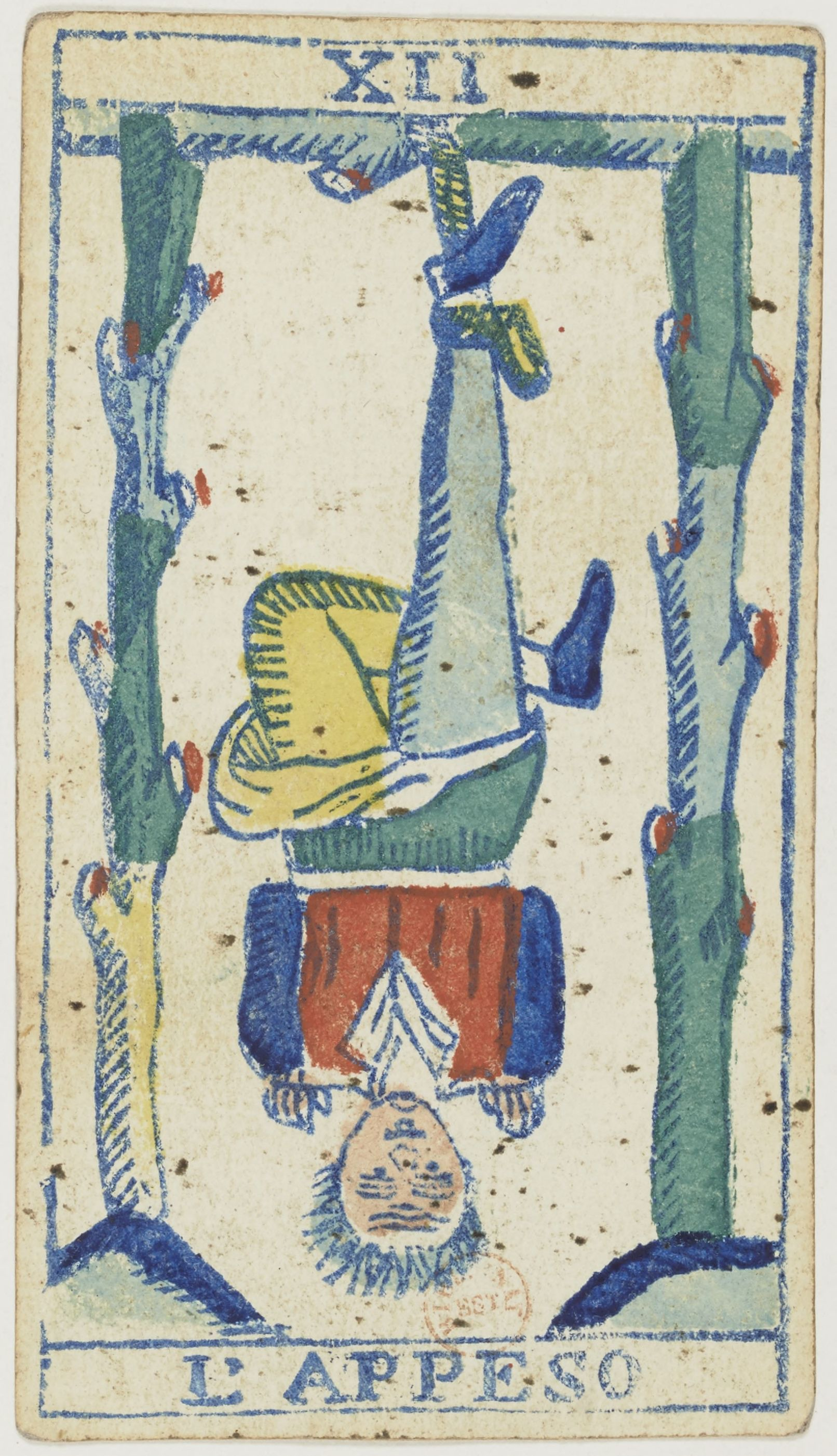 The Hanged Man in a Piedmontese Tarot deck, by F. F. Solesio (editor) https://commons.wikimedia.org/wiki/File:Piedmontese_tarot_deck_-_Solesio_-_1865_-_Trump_-_12_-_The_Hanged_Man.jpg?uselang=en-gb