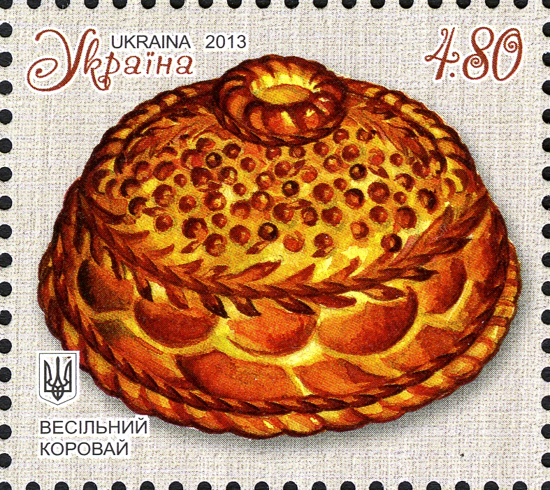 Picture of a stamp showing korovai from the Ukraine