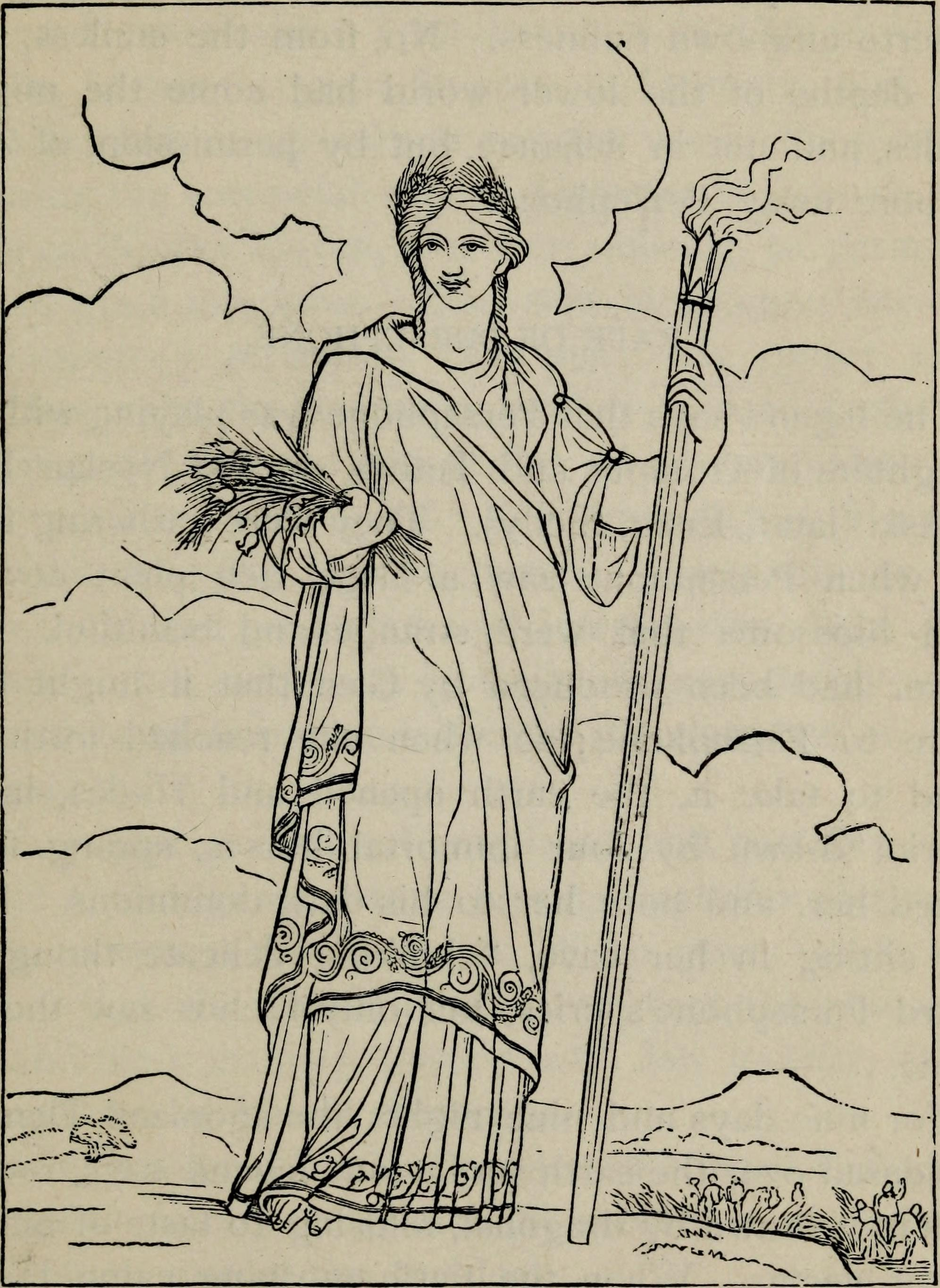 Line drawing of the goddess Demeter, standing with staff and arms filled with wheat.