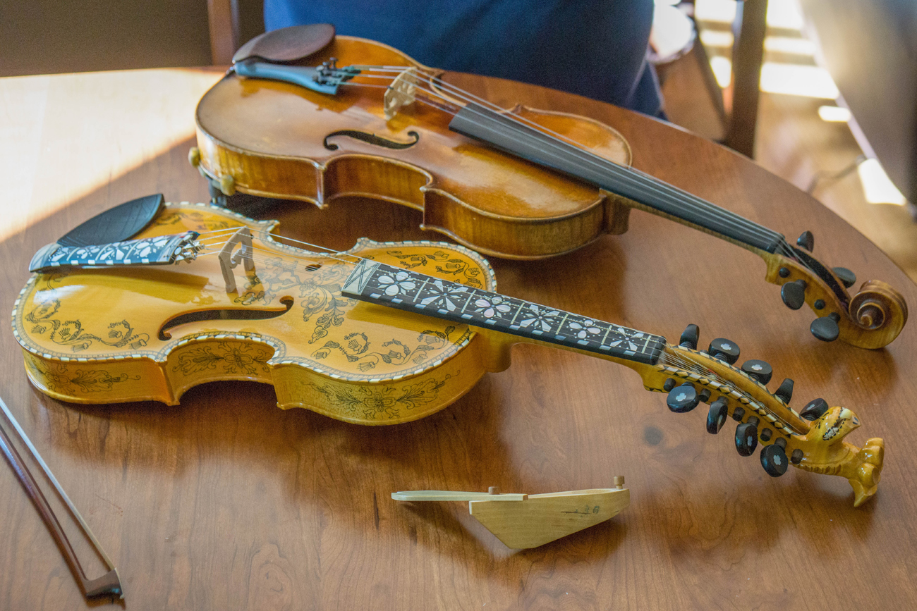 David's father's violin and a replica of his great-great-grandfather's Hardanger fiddle.