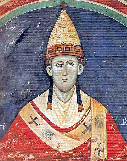 Paiting of Pope Innocent III , showing head and shoulders in traditional costume.