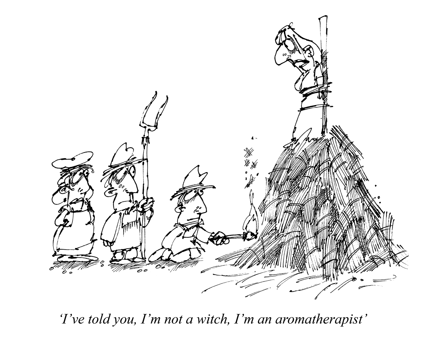 """I've told you, I'm not a witch, I'm an aromatherapist."" © Punch Ltd"