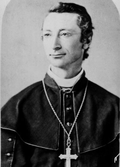 Old black and white photograph of Bishop Charles John Seghers, showing his face and shoulders.