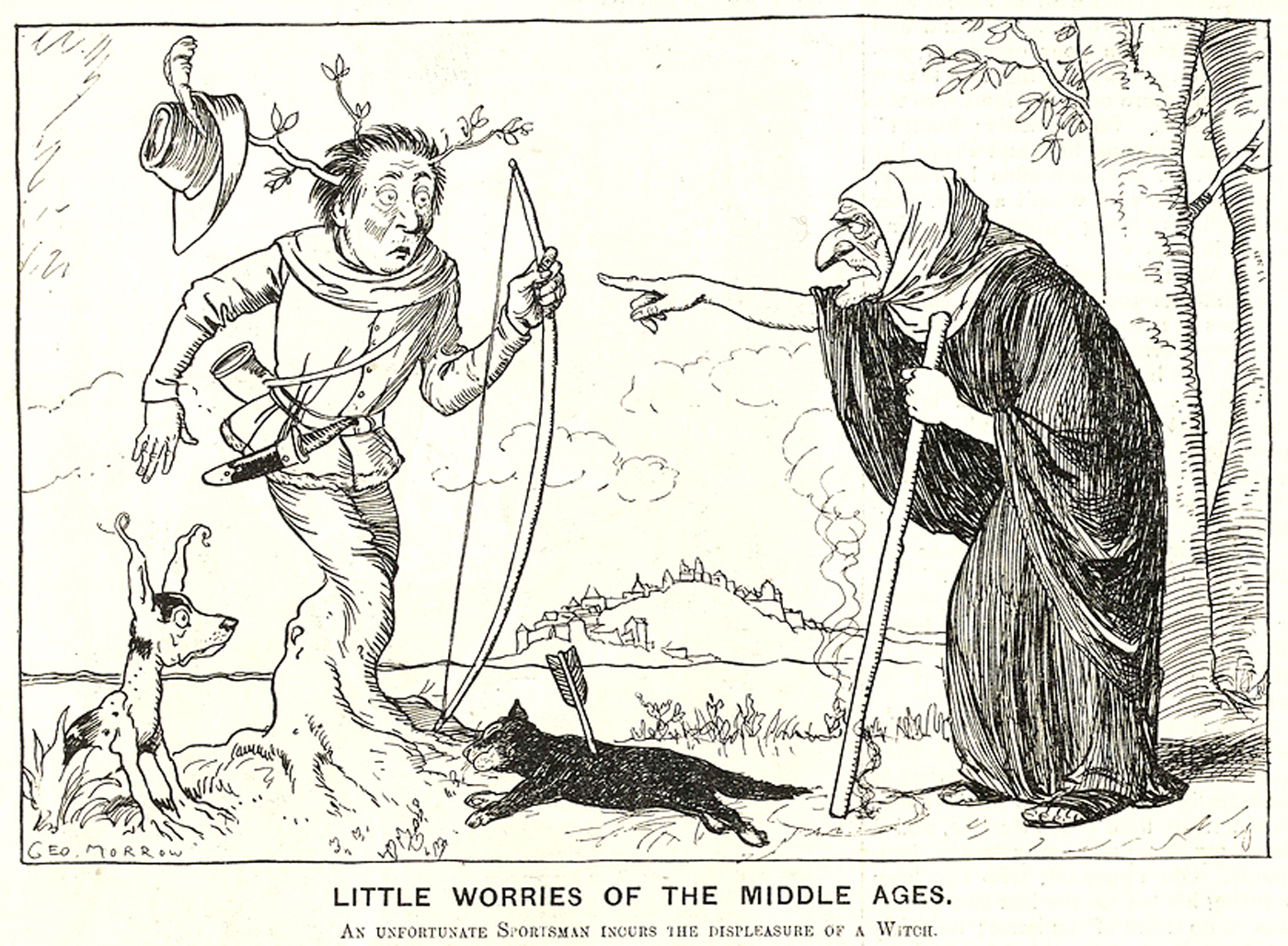 Little Worries of the Middle Ages. An unfortunate sportsman incurs the displeasure of a witch. © Punch Ltd