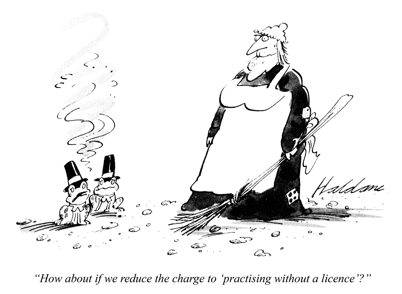 """How about if we reduce the charge to 'practising without a licence'?"" © Punch Ltd"