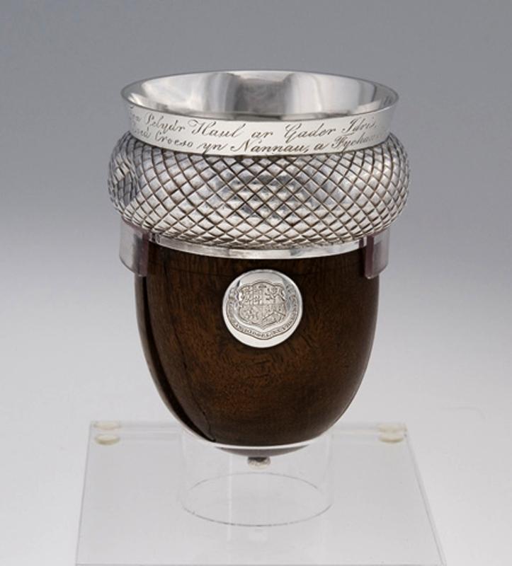 One of the acorn-shaped stirrup cups turned from the wood of Ceubren Yr Ellyll Source https://cy.wikipedia.org/wiki/Delwedd:Cwpan_Ceubren_yr_Ellyll_1824.jpg