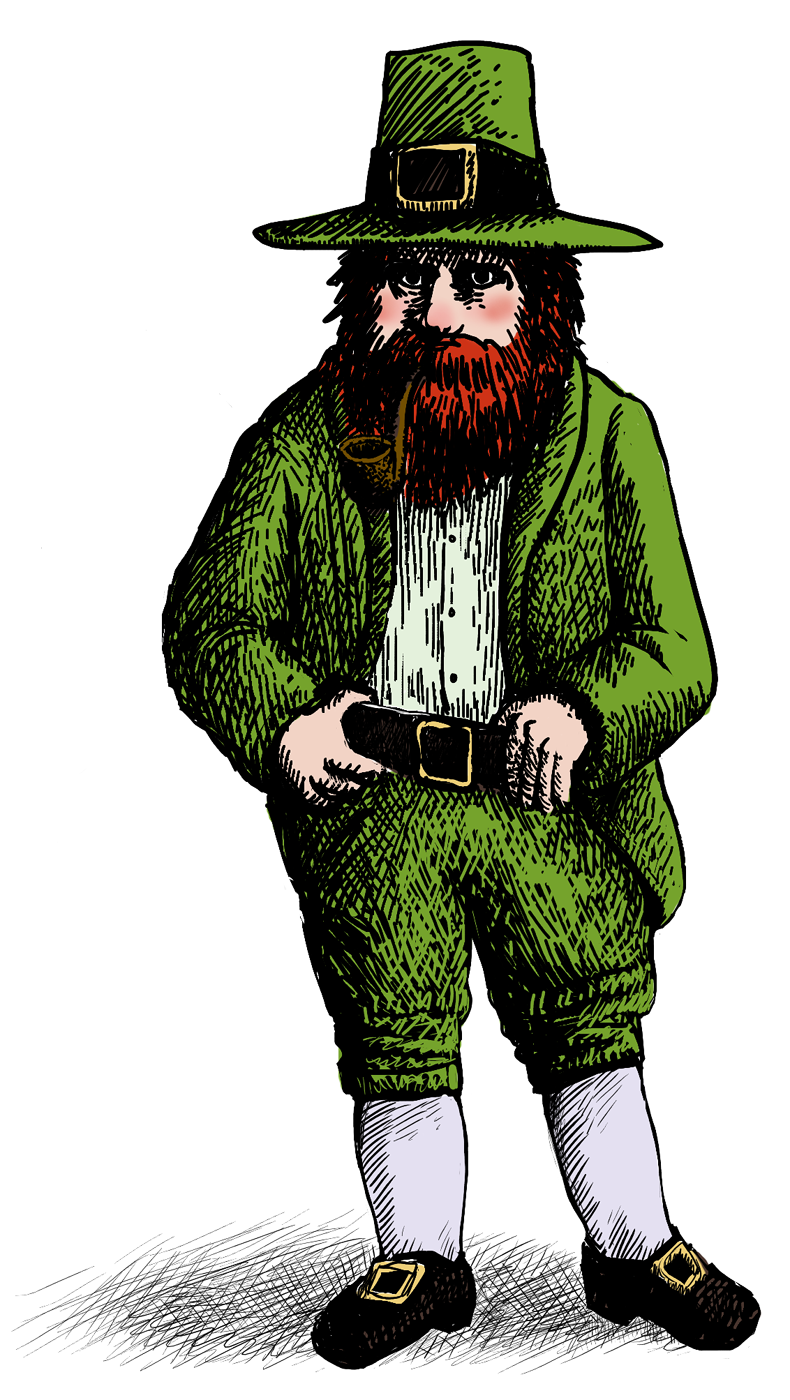 Leprechaun, clad in green, with a black hat and short trousers.