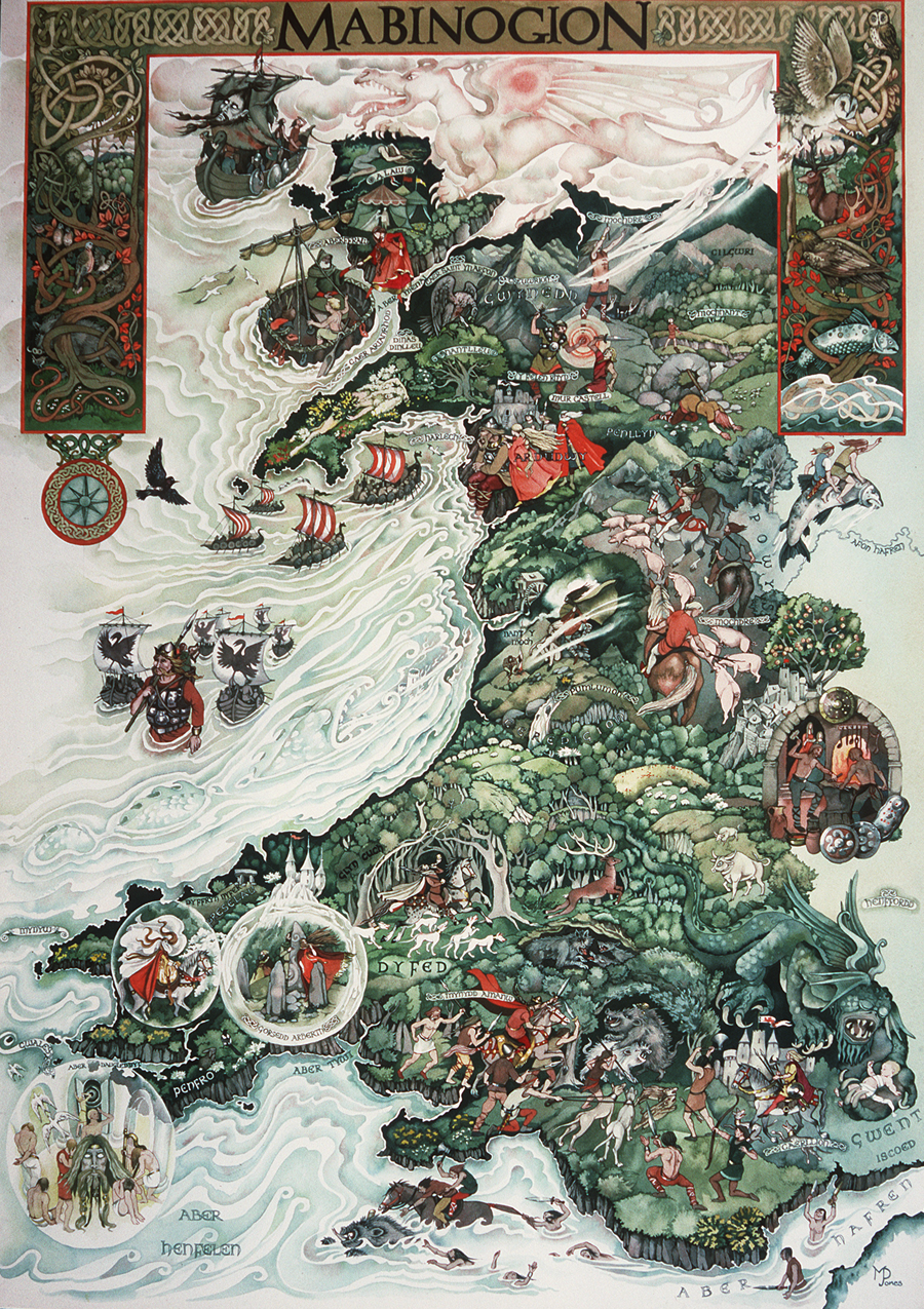 Map of Wales showing scenes from Mabinogion legends