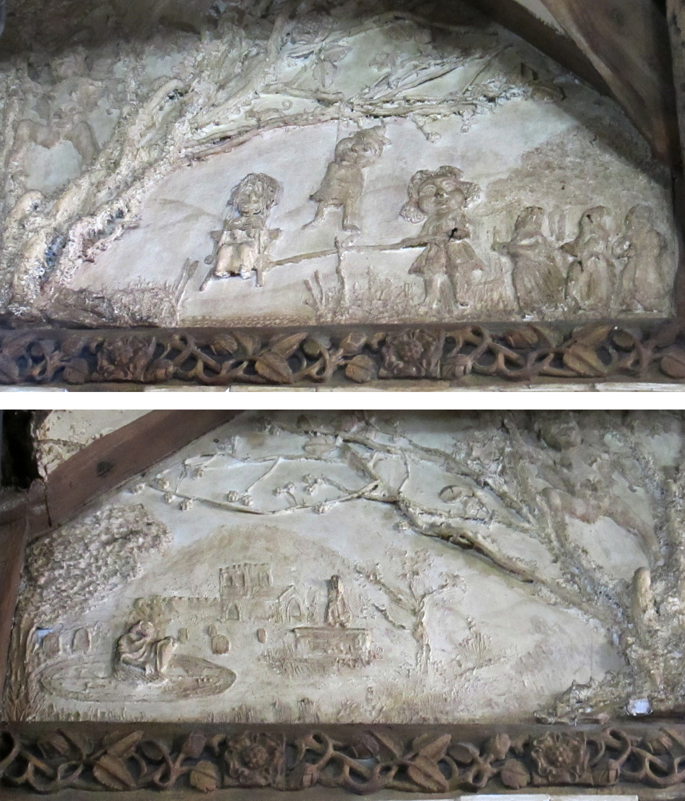 Scenes from the plaster frieze at Y Sospan, Dolgellau, showing trial and execution of witches (above) and a necromancer raising the dead (below) © Remy Dean